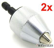 "(Qty-2) 1/4"" Keyless Chuck Conversion Hex Shank Adapter Drill Bit Quick Change"
