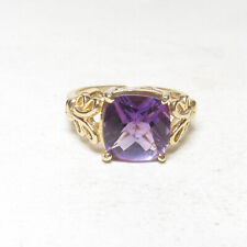 Estate 14K Yellow Gold 2.60 Ct Natural Grape Purple Amethyst Solitaire Ring