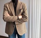 Men's Vintage Houndstooth Suits Sport Leisure Blazer Regular Fit 38 40 42 44 46