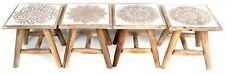 BIANCO Lavato shabby chic in legno intagliati a mano legno di mango Sgabello ~ Design variano