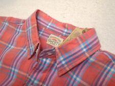 Faherty 100% Linen Coral & Blue Plaid Ventura Sport Shirt NWT Small $168
