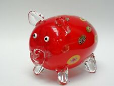 "LARGE MURANO MILLEFIORI ART GLASS PIG SCULPTURE 7.25"""