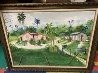 CARIBBEAN ORIGINAL OIL ON CANVAS PALM TREE/ LANDSCAPE SIGNED FRAMED 36X46 PIC UP