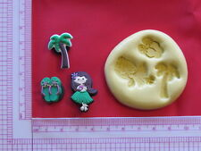 Hawaii Girl Palm Silicone Mold Polymer Clay A890 Resin Miniature Fondant Mould