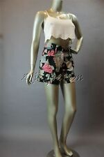 New with Tags MINK PINK Black White Floral Silky Polyester Belt Shorts XS