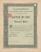 CLARENBERG AG Frechen Köln histor Kohle Aktie 1894 Rheinbraun BraunKohle Bergbau
