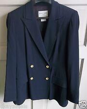 Oscar de la Renta Blazer Jacket Navy Blue Size 6 Wool Rayon Great Condition USA