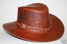 Leather Hat, Featuring Two Embossed Crocodiles