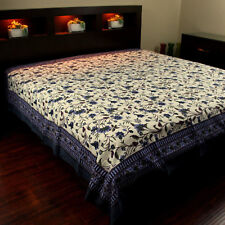 Cotton Floral Tapestry Throw Tablecloth Bedspread Blue Twin 72x106 inches