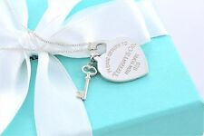 "Please Return to Tiffany & Co. Heart Charm & Mini Key 18"" Necklace w/ Packaging"