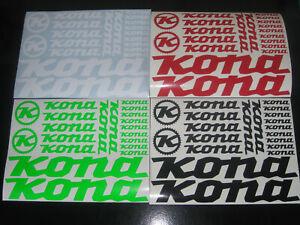 KONA Cycling Stickers Custom Sizes Colours Decals Bike Frame Fork MTB Road