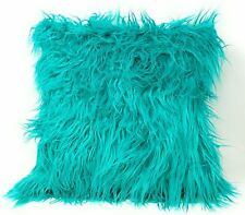 "2 x Luxury Mongolian Shaggy Faux Fur Faux Suede Teal Cushion Cover 17"" - 43 cm"