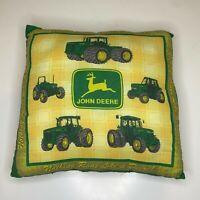 John Deer Throw Pillow Decorative Green Yellow Square