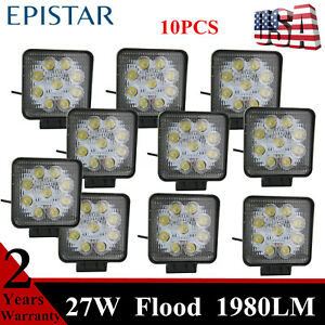 10X 27W 4inch Square LED Work Light 1980LM Driving Fog Off road Tractor 4X4WD