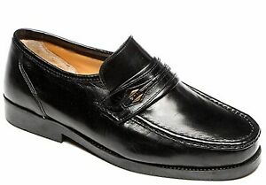 Mens Shoes Leather Extra Wide E Fitting Moccasin Slip On Black Smart Shoes Size