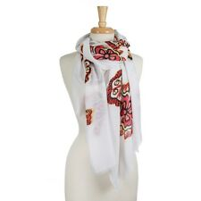 Lightweight White Open Scarf with Yellow and Red Flowers