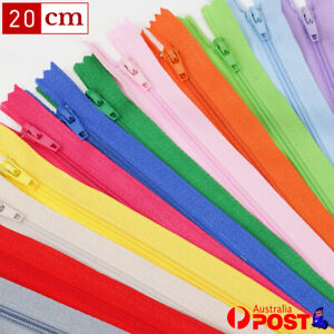 """Nylon Assorted Colour Pack of 20/40 Zippers Zip 8"""" Close End  Apparel No.3"""
