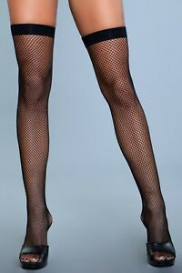sexy BE WICKED fishnet BANDED top THIGH highs STOCKINGS nylons PANTYHOSE hose