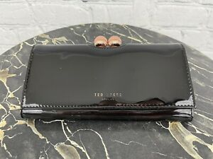 Ted Baker Black Patent Leather Rose Gold Hardware Bobble Matinee Clutch Wallet