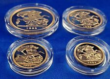 1982 UK Great Britain Gold Proof Four Coin Set 5P 2P Full Half Sovereign BOX