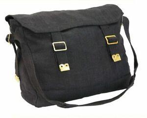 Retro Cotton Canvas Web Motorcycle Shoulder Bag WH1 BLACK