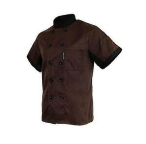 Unisex Chef Jacket Coat Restaurant Hotel Work Uniform Short Mesh Sleeves d89