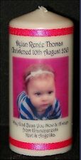 Baby Girl Christening Photo candle own message. Perfect Unique present