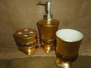 CROSCILL GOLD (3PC) TOOTHBRUSH HOLDER TUMBLER LOTION BATHROOM