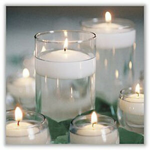 25 Large 6cm Floating White Wax Candle 6 hr burn wedding party table centepiece