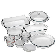 15 Pc Baking Kitchen Glass Oven Cookware Dishes Pans Cooking Bowl Bakeware Set