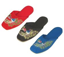 Handmade Embroidered Wild Peacock Chinese Women's Cotton Slippers New