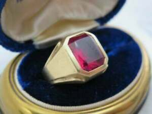 14k Yellow Gold Over 3.00 Ct Emerald Cut Pink Ruby Men's Engagement Ring