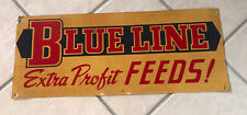 Vintage Blue Line Feeds Farm Advertising Sign Feed Seed Metal Tin Sign Tractor
