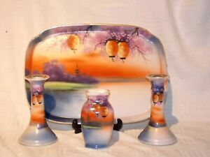 NORITAKE PAGODA LANTURN DRESSING TABLE SET     (free uk shipping)