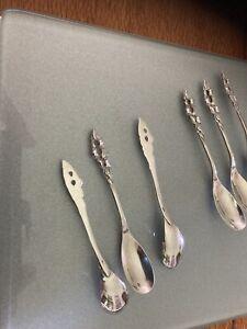 Set Of six Dutch Silver Coffee Spoons