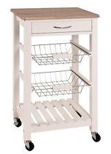 Küchenwagen Simone, Servierwagen, Küchenhelfer, Rollwagen, Weiß Eiche Dekor