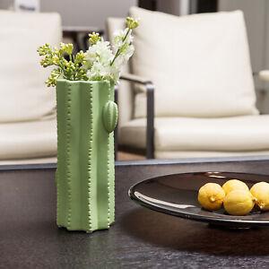 9-Inch Southwest Style Ceramic Green Saguaro Cactus Design Flower Vase Table
