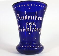 Souvenir- Mug Glass Cobalt Blue Enamel bemahlung gröditzberg Around 1860 AL182