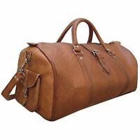 VINTAGE LARGE GENUINE LEATHER HOLDALL TRAVEL WEEKEND CABIN AIR DUFFEL BAG TAN