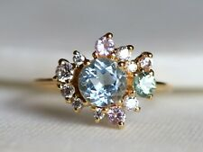 18k Gold Round Aquamarine Moissanite and Sapphire Cluster Engagement Ring