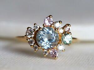 18k Gold Round Aquamarine Moissanite and Sapphire Cluster Engagement Ring