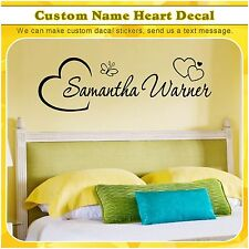 Custom Name Heart Initial Butterfly Vinyl Wall Art Room Sticker Decor Decal 069