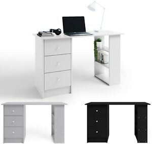 Computer Desk With 3 Drawers and Shelves Home Office Study PC Laptop Wood Table
