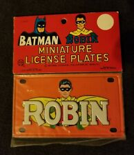 (MIP)1966 MARX BATMAN BICYCLE, BIKE LICENSE PLATE (ROBIN) TIN LITHO!!!  NICE!!!