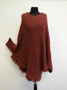 Damen Pullover Poncho Strick Cape Cardigan Häkel Bordeaux Vintage GR L