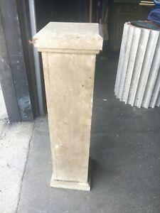 "c1890 pine newel post bannister column 36"" x 9.5"" x 8"" sq shaft old off white"