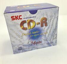 10 Pack SKC CD-R Consumer Audio 74 minute Blank Music CD Plastic Jewel CD case