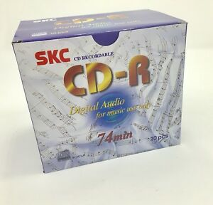 SKC CD-R Consumer Audio 74 minute Blank Music CD Plastic Jewel Case 10 Pack