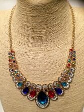 STATEMENT Long Large MULTI-COLOURED Crystal Diamante Gold Chain Chunky Necklace