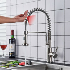 Brushed Nickel Touch On Kitchen Faucet Singel Handle Pull Out Sprayer Mixer Tap